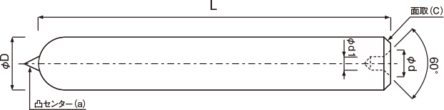 丸棒成型品(ボールエンドミル・ストレートシャンク用凸凹センター付)
