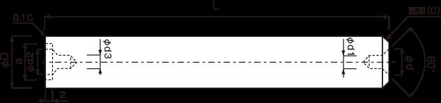 丸棒成型品(スクエアエンドミル用片側座グリ付)