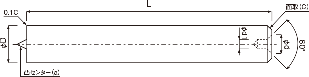 丸棒成型品(スクエアエンドミル用凸凹センター付)